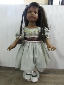 """Tuss Inc 22"""" African American Vinyl Girl Doll With Braids & Stand MG-899 A"""