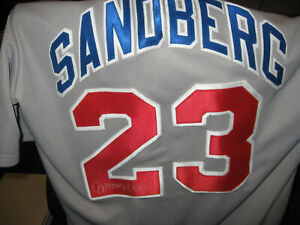RYNE SANDBERG autographed CUBS MAJESTIC Jersey LARGE Chicago Cubs SEWN nice