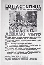 """A6977) LOTTA CONTINUA, CARTOLINA MANIFESTO """"MILANO VIA TIBALDI, ABBIAMO VINTO""""."""