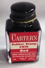 Vtg Old CARTER'S Rubber Stamp Pad Pen RED Ink Hazel Atlas Glass Bottle FULL NOS