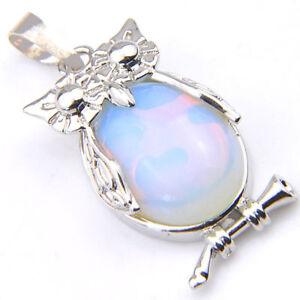 Valentine's Jewelry Huge Drop Rainbow Fire Moonstone Silver Necklace Pendants