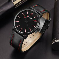CURREN Men's Leather Band Minimalism Round Dial Analog Casual Quartz Wrist Watch