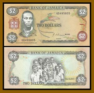 Jamaica 2 Dollars, 1992 P-69d Bird Unc