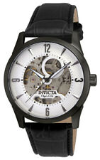 Invicta Objet d' Art 22638 Men's Round White Automatic Black Leather Watch