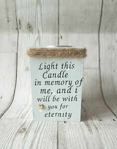 Tea light holder, personalised candle holder, remember lost loved one, wooden