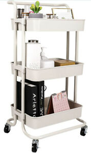 LeFroom 3-Tier Rolling Utility Cart with Handle and Wheels Storage Organizer