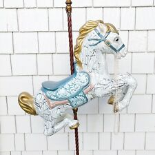 """VINTAGE Carousel Horse Hand Painted, Heavy Gold Antique Stand, Nursery Decor 60"""""""