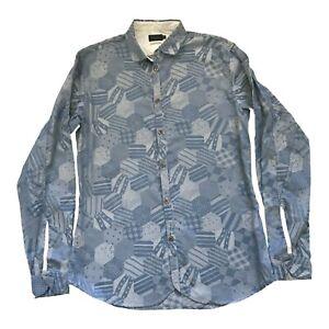 PAUL SMITH JEANS Slim Fit Langärmlig Blau Muster Freizeithemd