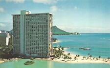 OAHU, HI Hawaii  HILTON RAINBOW TOWER Beach~Island ROADSIDE Bird's Eye Postcard