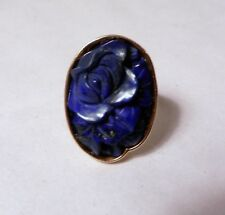 Gorgeous 14K Yellow Gold Large 26 mm Carved Lapis Flower Ring Size 8.25