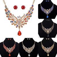 Charm Women Gold Chain Crystal Flying Peacock Choker Bib Drops Pendant Necklace