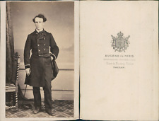 Eugène, Toulon, Homme en redingote militaire, circa 1870 CDV vintage albumen car