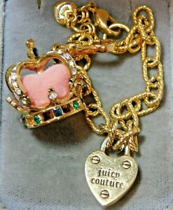 Juicy Couture Blue Green Rhinestones Chain Bracelet Dangle Charm Heart Crown