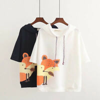 Women Girl Mori Cute Short Sleeve Sweatshirt Hoodie Fox Print Tee Tops T-shirt
