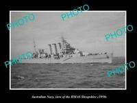 OLD LARGE HISTORIC PHOTO OF AUSTRALIAN NAVY SHIP HMAS SHROPSHIRE c1950