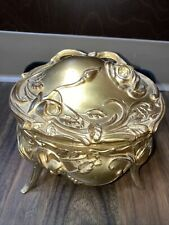 1900? art nouveau gild gilt casket floral jewlery box footed numbered Ormolu?
