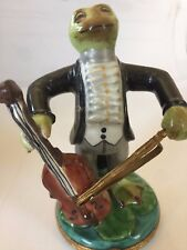 Limoges Large Trinket Jewelry Box Frog Playing The Cello France Hand Painted