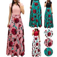Women Floral Print Maxi Dress Evening Party Summer Beach Casual Long Sundress