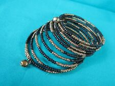 Memory Wire Wrap Bracelet Black & Gold Glass Seed Beads w/ Decorative Bells