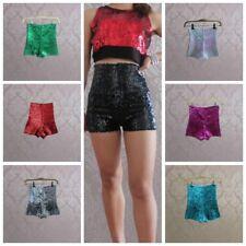 Women Full Sequins Shorts High Waist Shiny Glitter Dance Hot Pants Stretch Disco