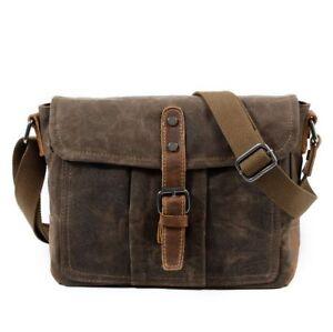 Waterproof Men's Oil Wax Canvas+Leather Messenger Shoulder Bag Travel Bag Coffee