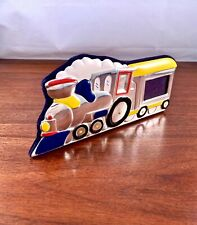 Italian Sterling Silver & Enamel Baby Photo / Picture Frame: Train Design