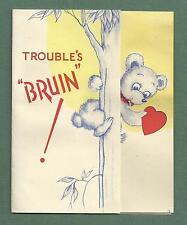 """1940'S VALENTINE CARD LITTLE BEAR IN TREE - TROUBLE'S """"BRUIN"""""""