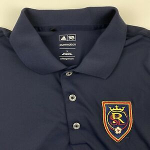 Adidas Men's Large Real Salt Lake Soccer Club Polo Navy Short Sleeve