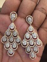 Pave 5,75 Cts Runde Brilliant Cut Diamanten Chandelier Ohrringe In 14 Karat Gold