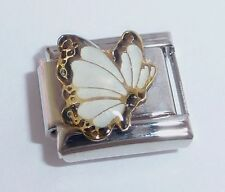 WHITE BUTTERFLY Italian Charm - APRIL Birthstone 9mm fits Classic Bracelets N7