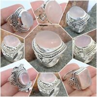 925 SOLID STERLING SILVER HANDMADE ROSE QUARTZ RINGS IN ALL SHAPE & SIZES