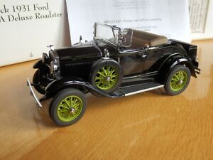 Danbury Mint 1931 Ford Model A Roadster. Black. Scale1:24 with Box. Excellent.