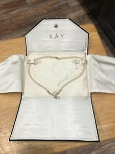 10K  Gold Pearl Necklace with Diamonds Kay Jewelers Set