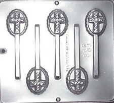 Cross on Oval Lollipop Chocolate Candy Mold 405 NEW