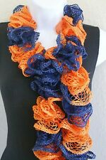 "Ruffle lace soft scarf hand knit HOUSTON ASTROS colors +60"" long"