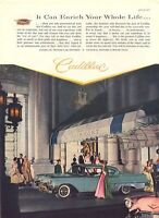 1957 Cadillac PRINT AD Aqua and Pink 4 door Party at the Fairmont Ball Gowns