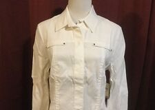 Coldwater Creek Snap Front Shirt Jacket NWT Sz 12 White Light Summer Linen Blend