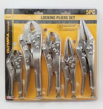 Olympia 5 pc Locking Pliers Set. Carbon Steel.  Raround nose & Long Nose Pliers