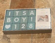 Hallmark It'S A Boy Wooden Block Set For Pictures,Announcements & Milestones-New