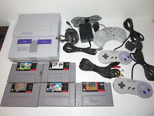 SUPER NINTENDO SNES SYSTEM WITH 5 GAMES 3 CONTROLLERS TESTED COMPLETE
