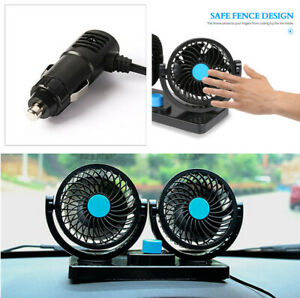 12V Portable Air Conditioner Car Interior Air Cooling Fan Dash Mount Two Speeds