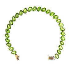 21.00 Ct Yellow Gold Women's Peridot Tennis Bracelet 14 Kt