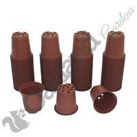 """100 X 9cm Plant Pots Terracotta Plastic Tall Deep Full Size Flower Pot (3.5"""")"""