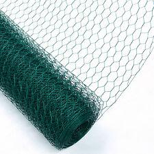Chicken Wire Mesh Rabbit Fence 25mm Green PVC Coat Garden Net 0.6 X 25m