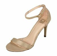 Delicious Women's Jaiden Open Toe Ankle Strap High Heel Sandals in Natural Snk