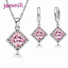 New Jewelry Set For Women Cubic Zirconia Square Pendant Necklace Drop Earrings