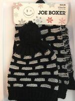 JOE BOXER Women's 2 Piece Set - Pom Pom Hat and Scarf - Black White & Gray NEW