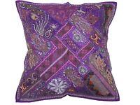 """Purple Decorative Euro Sham Beaded Sari Patchwork Square Floor Pillow Cover 26"""""""