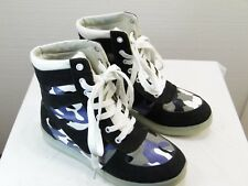 Simulation LED Light Up shoes USB Charger black suede and camo   YR9