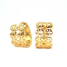 18k Yellow Gold Filled Earrings Women 15MM 9mm Hoop GF Charm Fashion Jewelry New